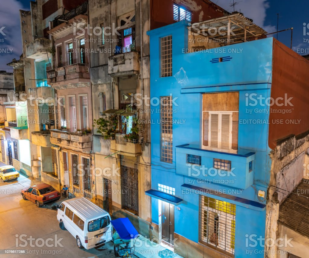 Variety of buildings and cars in Havana stock photo