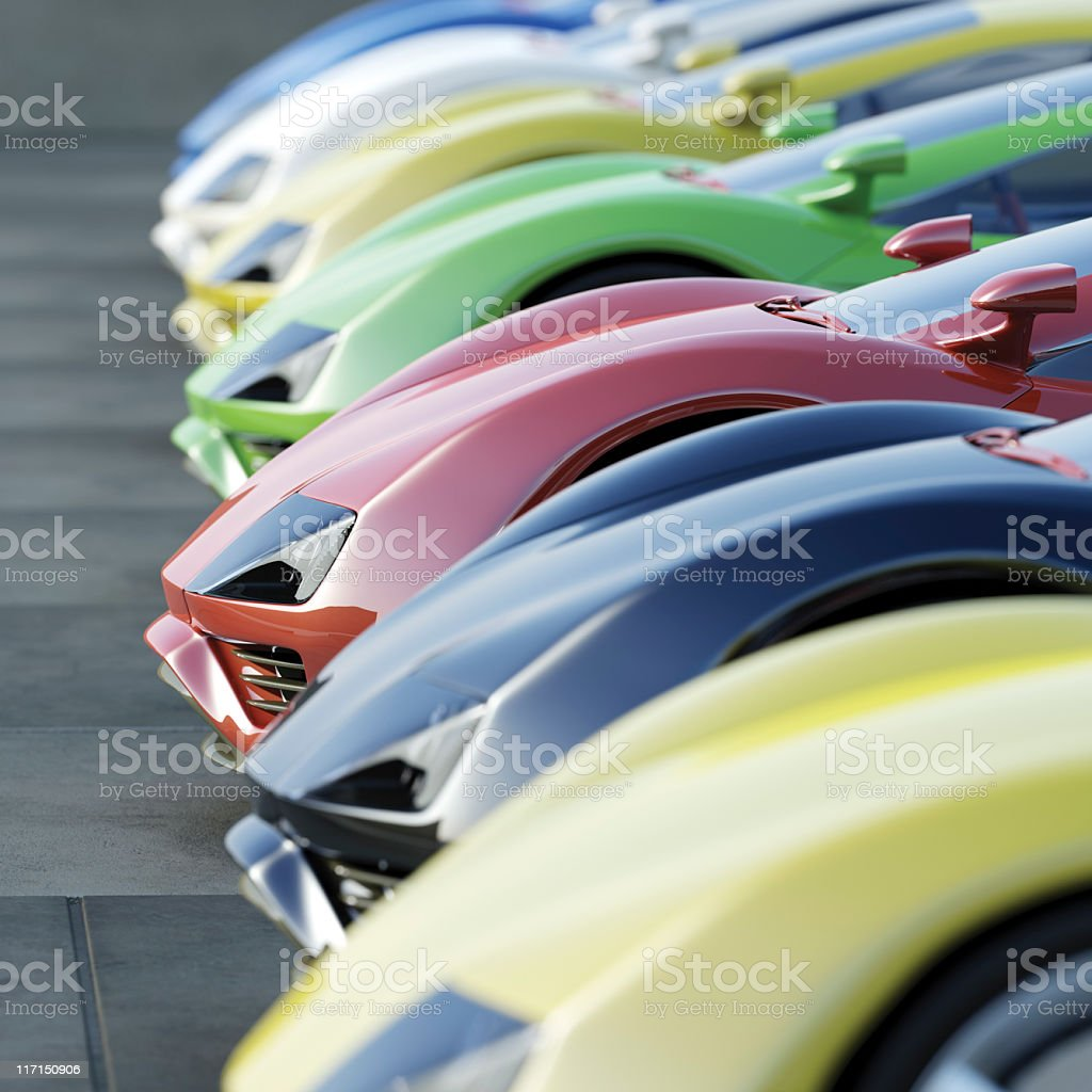 A variety of cars at a car dealership stock photo