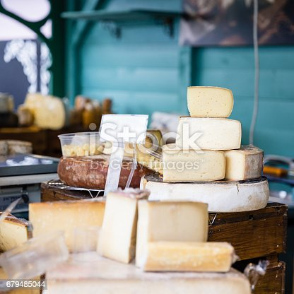 variety of different aged cheese in a store