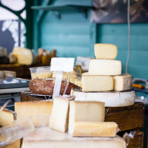 variety of cheese in a store stock photo