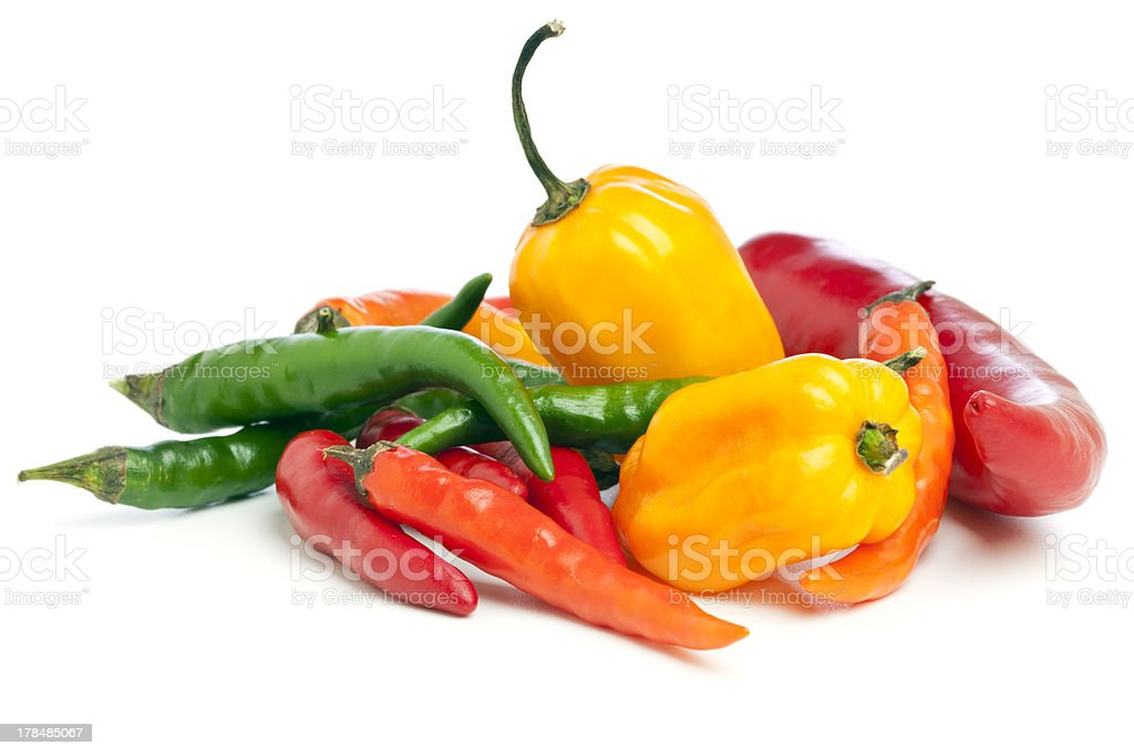 Variety of Chili Peppers stock photo