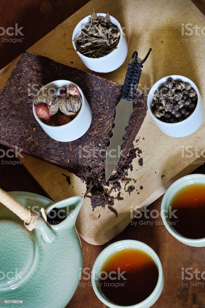 A Variety of Chinese Tea Served from Celadon Tea-ware stock photo