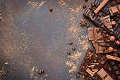 Variety of chocolate bars with spices.Top view.