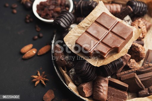 istock Variety of chocolate candies in old fashioned bowl 962204002