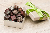 mix of chocolates and praline in their gift box