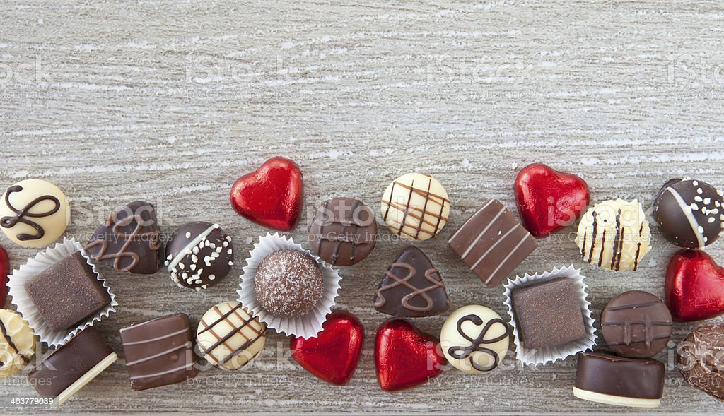 Variety of chocolates stock photo