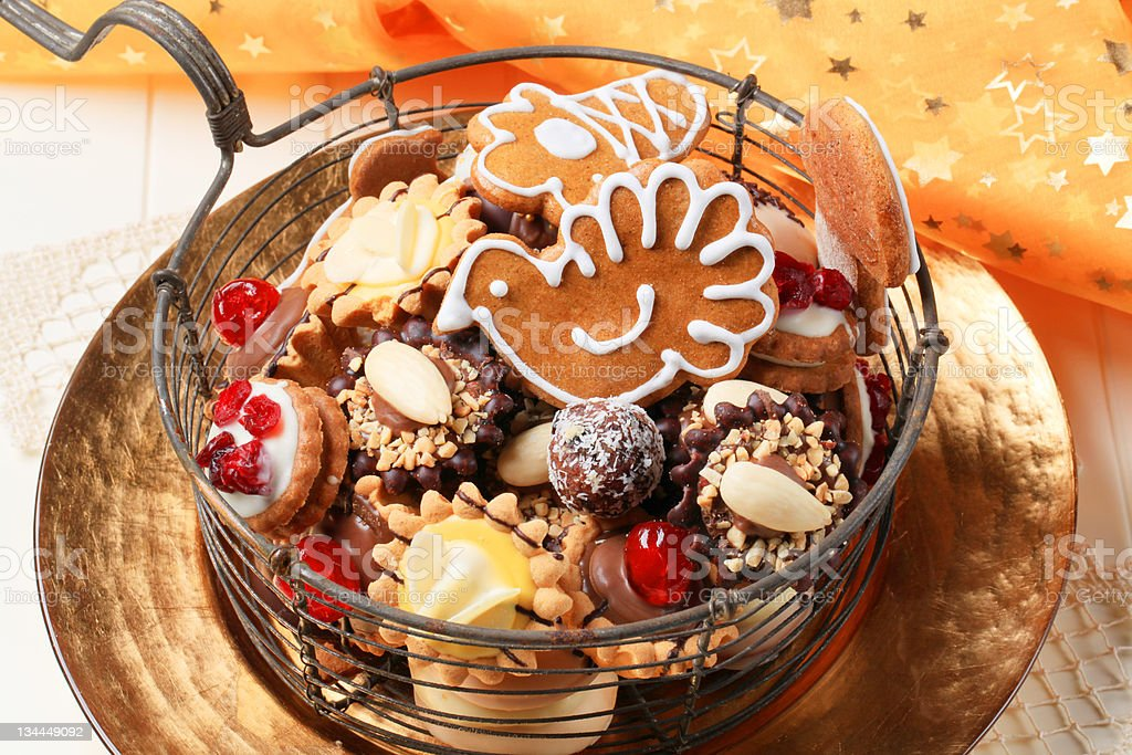 Variety of Christmas cookies and tartlets royalty-free stock photo