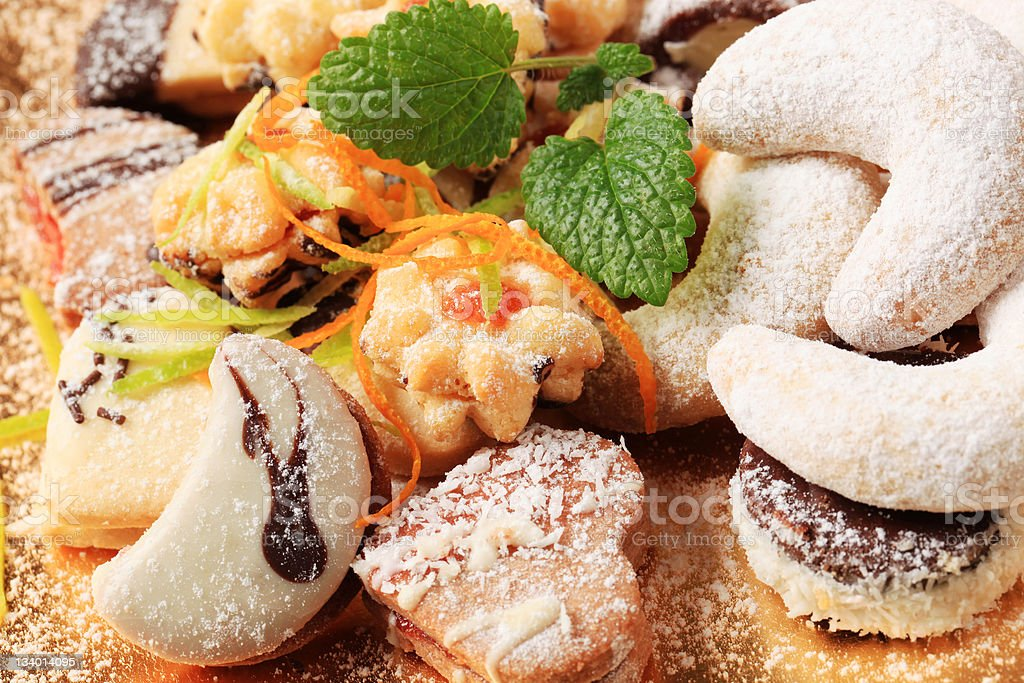 Variety of Christmas cookies stock photo