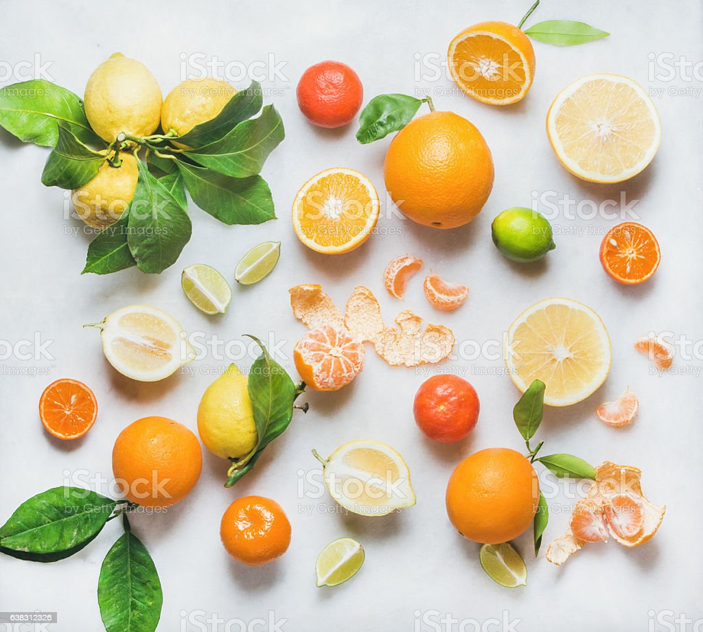 Variety of citrus fruit for making healthy smoothie or juice stock photo