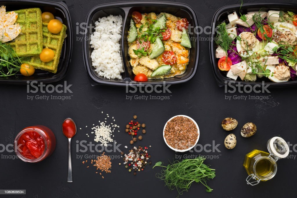 Street food, delivery and clean eating concept. Variety of healthy...