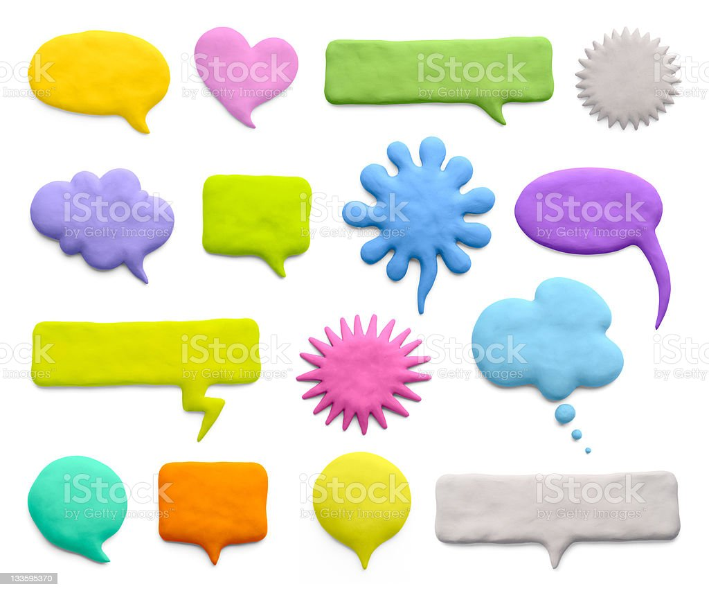 A variety of colored speech bubbles stock photo