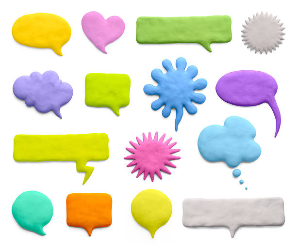 A variety of colored speech bubbles Сollection of plasticine word bubbles, dialogue ballons, and thought bubbles.  clay stock pictures, royalty-free photos & images