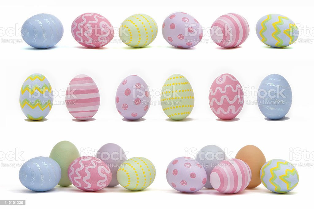 Variety of colorful Easter eggs stock photo