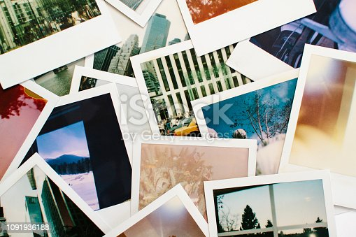 istock Variety of Colorful Instant Film Polaroid Pictures 1091936188