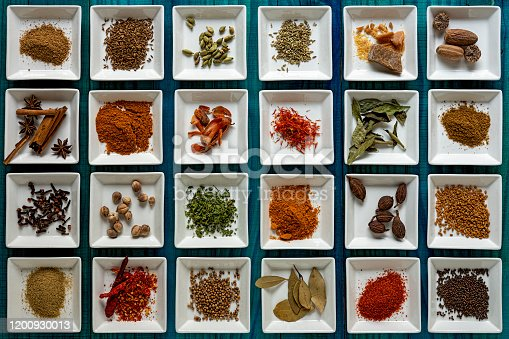 Many colorful, organic, dried, vibrant Indian food, ingredient spices including; chili powder, turmeric, cinnamon, star anise, coriander seeds, ground coriander, cumin seeds, ground cumin, cloves, asafoetida, fennel seeds, ground fennel, garam masala, fenugreek seeds, fenugreek leaves, curry leaves, green cardamom, white cardamom, black cardamom, nutmeg, bay leaf, mace, saffron and black mustard seeds displayed in white ceramic dishes on an old turquoise colored wood background, with atmospheric lighting. Shot directly above, nice color contrast.
