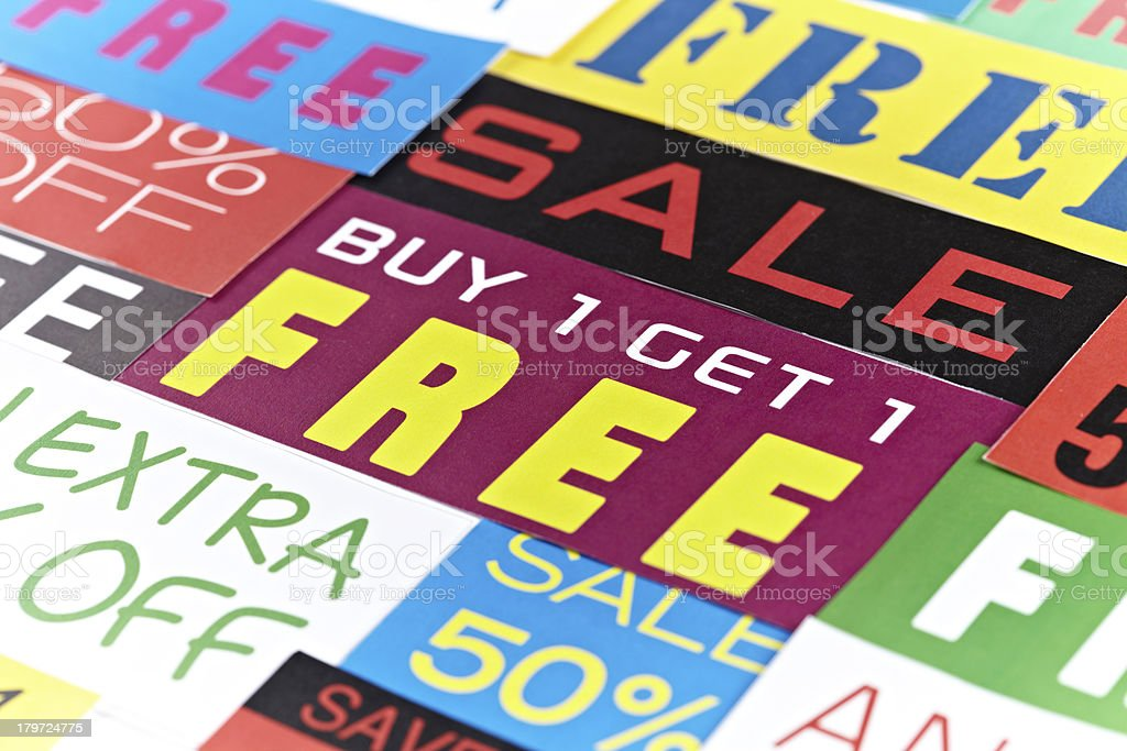 Variety of colorful sale signs royalty-free stock photo