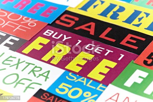 Sales, discount, savings, coupons, percentage signs and similar.