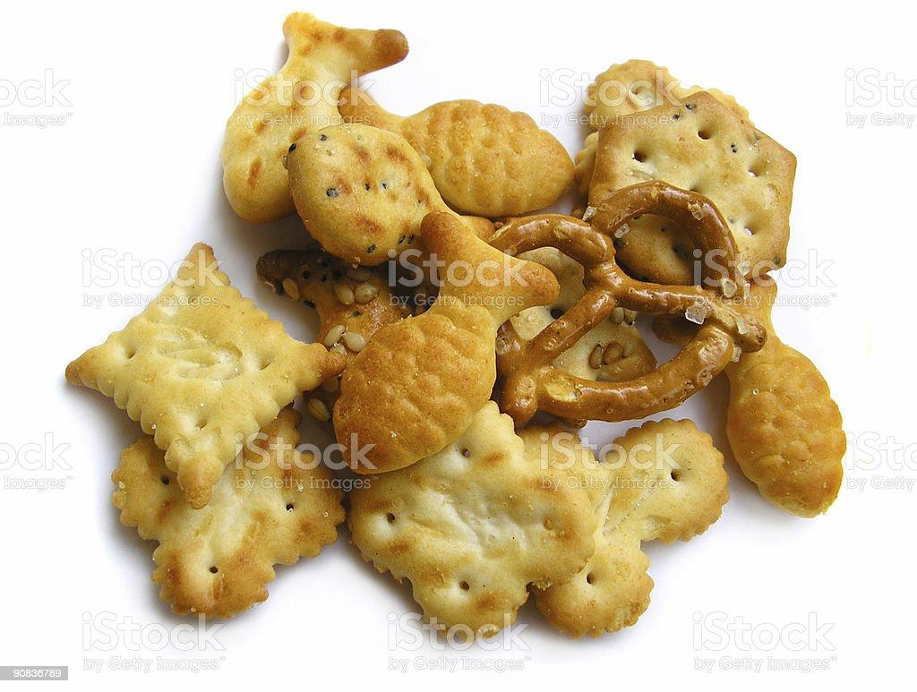 Variety of crispy, tasty snacks. On white. royalty-free stock photo