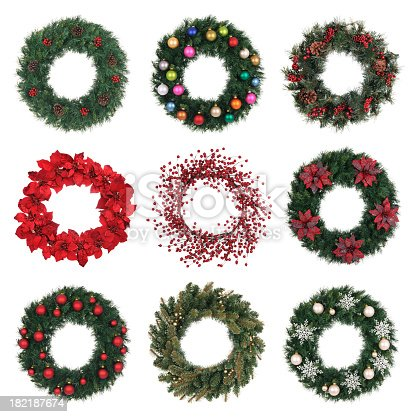A composite of nine different Holiday wreaths on white.