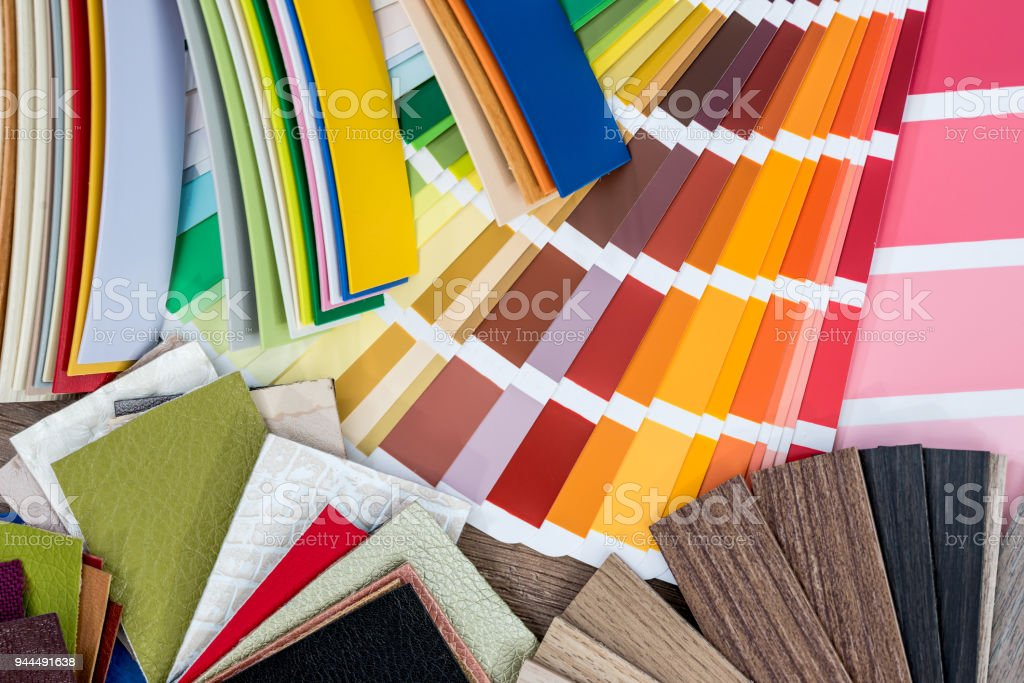 A variety of design samples . close up stock photo