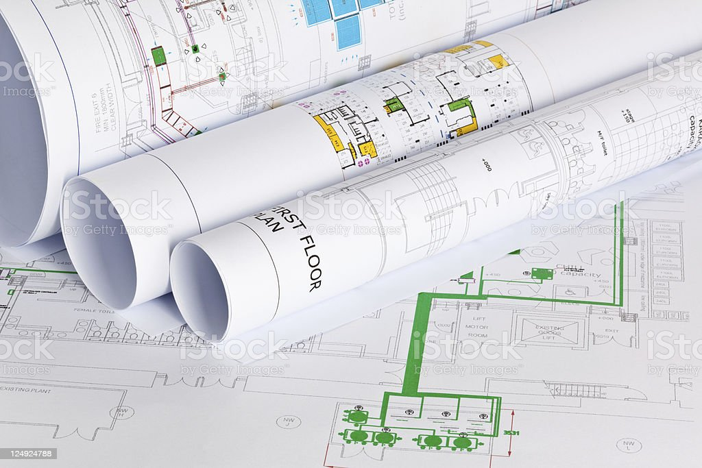 A variety of different architectural plans stock photo