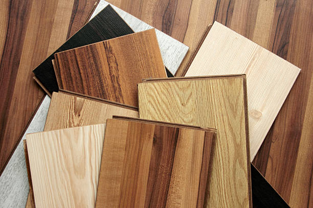 Variety of different colored parquet boards stock photo