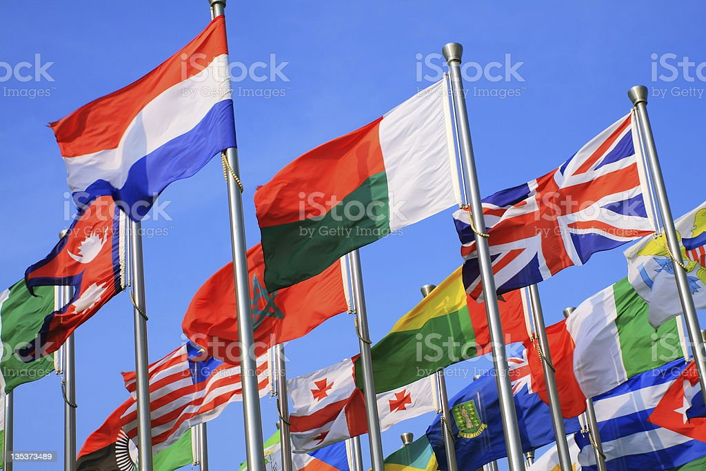 Variety of different countries of flags stock photo