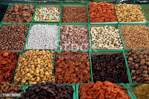 Variety of dried fruit and nuts on the bazaar