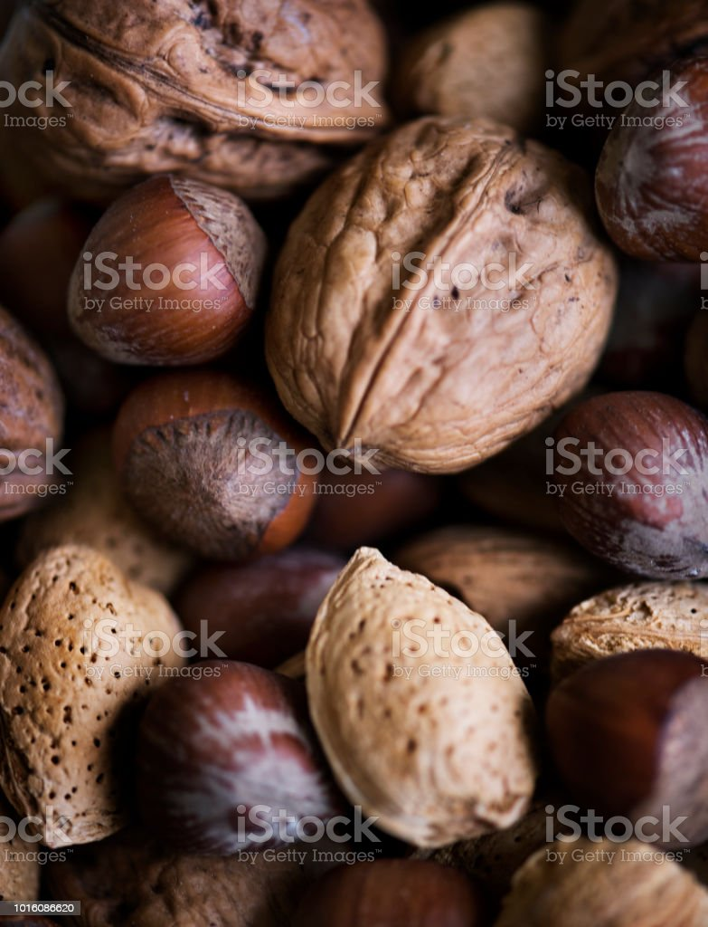 Variety of dried nuts food photography stock photo