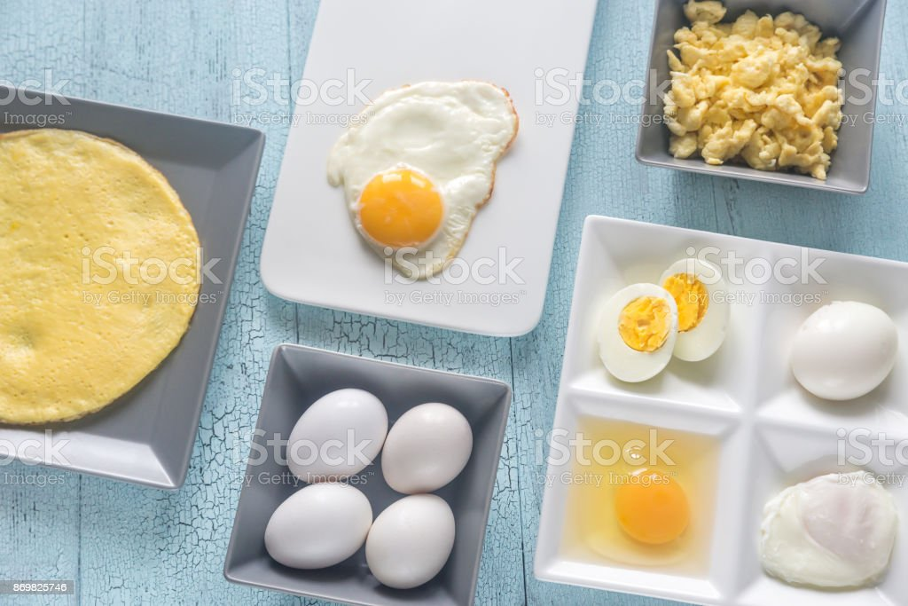Variety of egg dishes stock photo