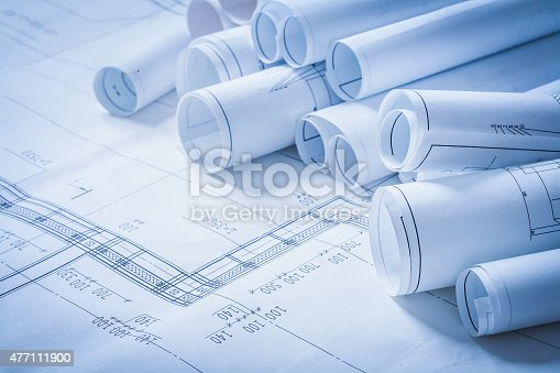 istock Variety of engineering construction drawings building concept 477111900