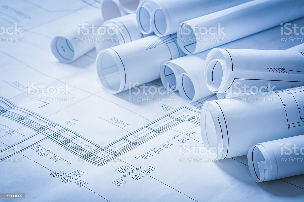 Variety of engineering construction drawings building concept stock photo