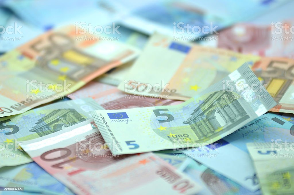 variety of euro banknotes stock photo