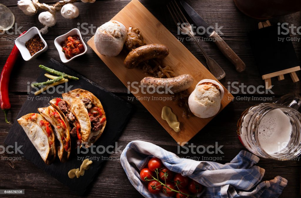 Variety of food grilled on wooden table stock photo