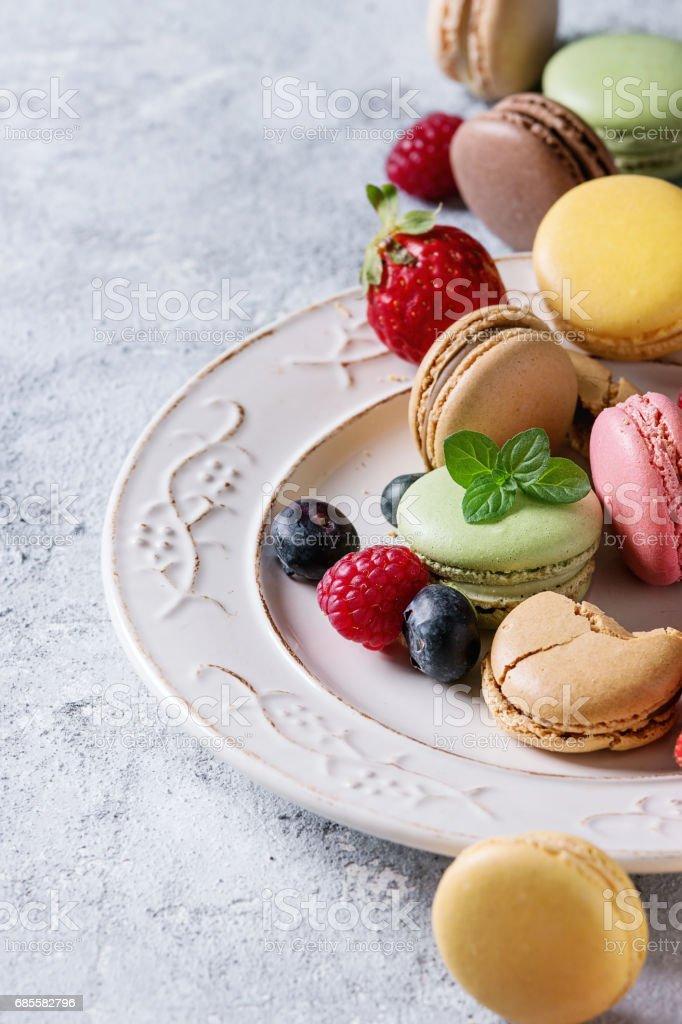 Variety of french dessert macaroons 免版稅 stock photo
