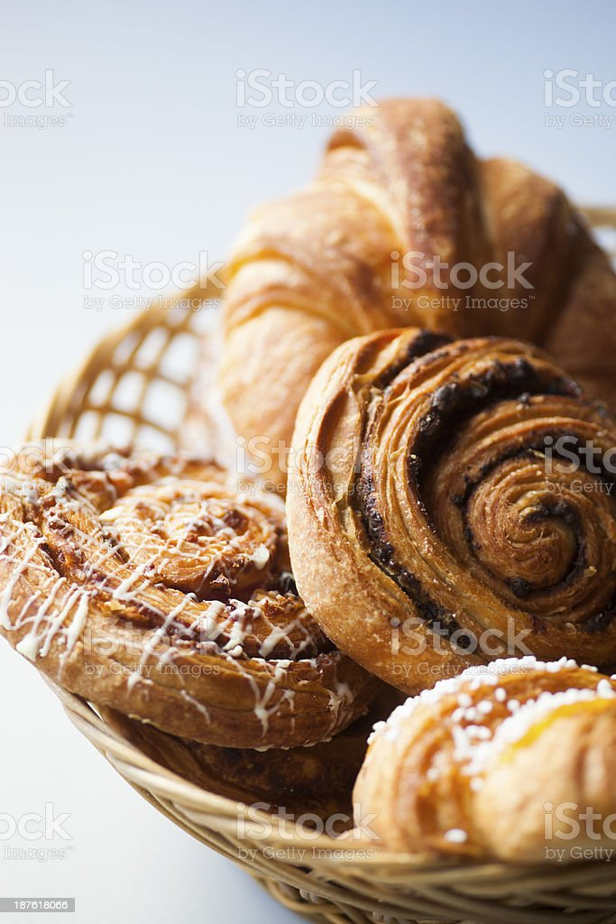 Variety of fresh bread and pastry stock photo