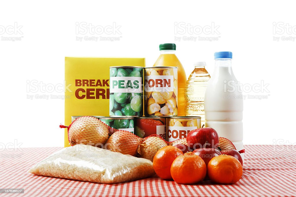 Variety of fresh, canned & packaged foods, isolated on white stock photo