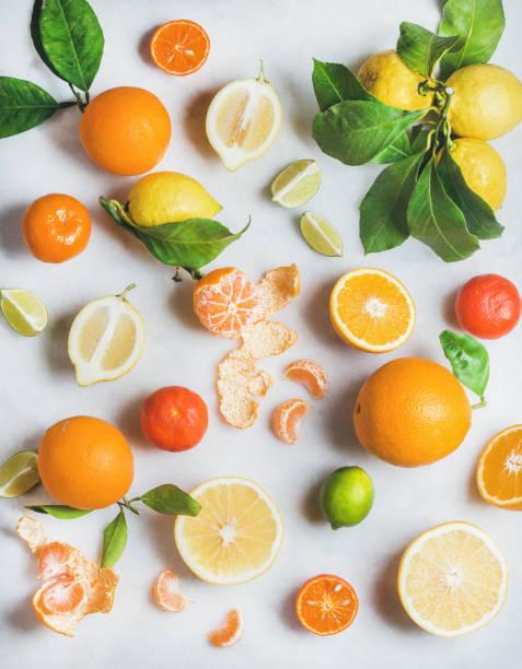 vielzahl von frischen zitrusfrüchten dafür gesunde smoothie - abnehmen leicht gemacht stock-fotos und bilder