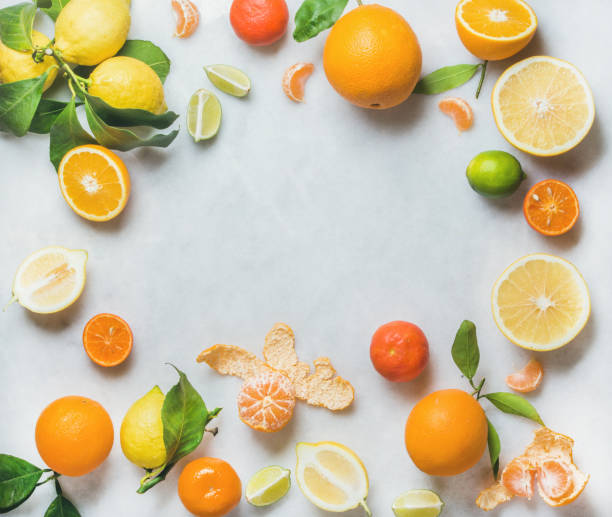 Variety of fresh citrus fruit, healthy eating concept - Photo