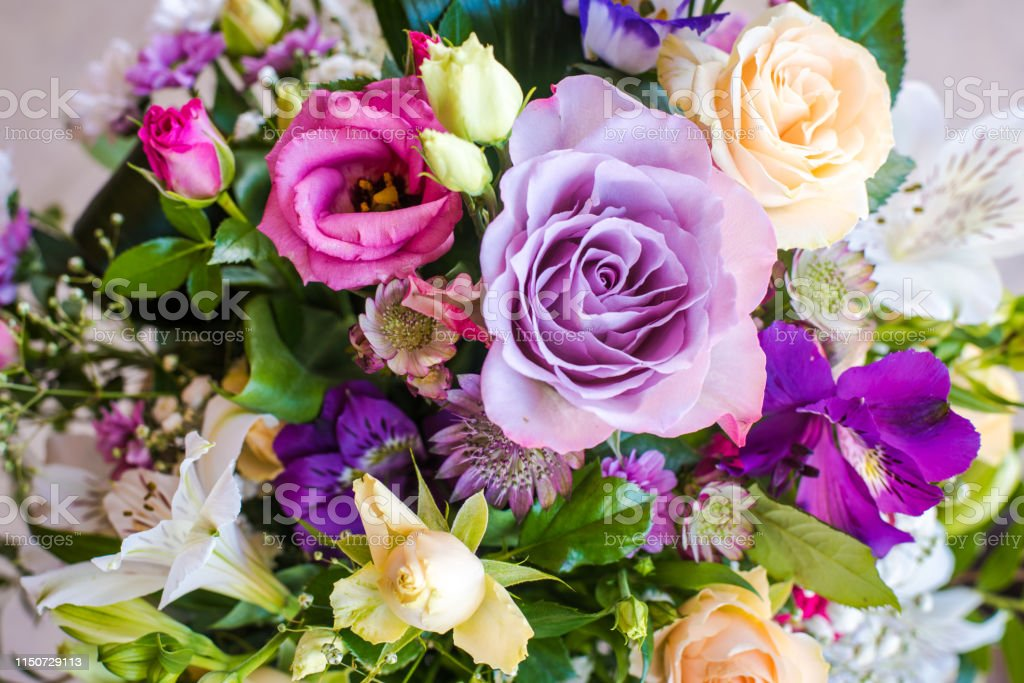 Variety of fresh flowers. Colorful flower mix bouquet. Flower...