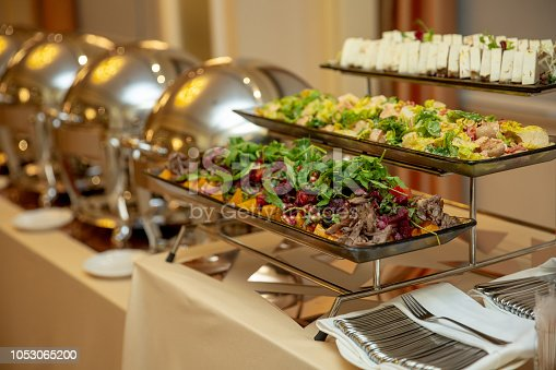 Variety of fresh salads in a buffet. buffet in the restaurant