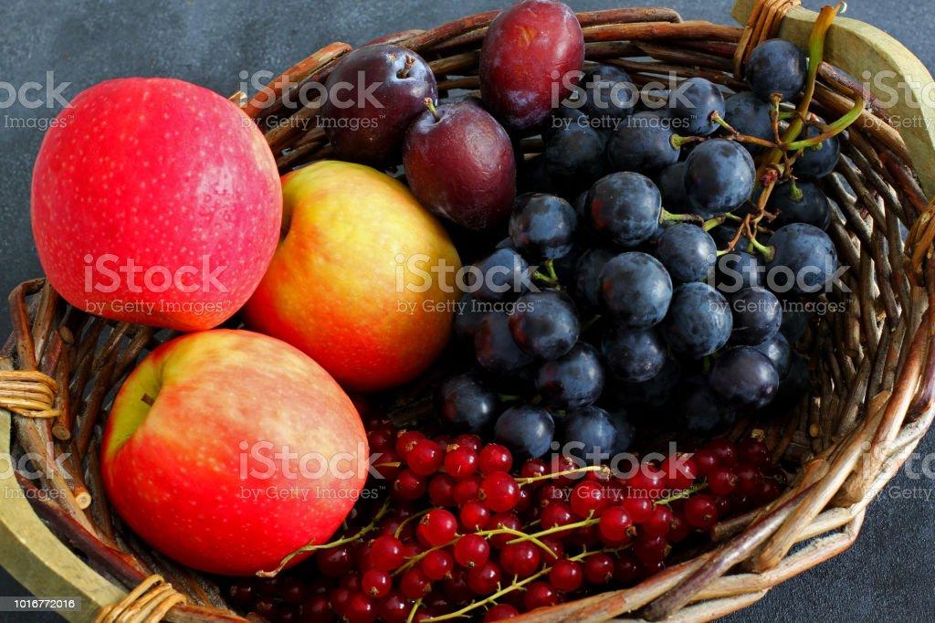 Variety of fresh summer fruits in market basket on dark board