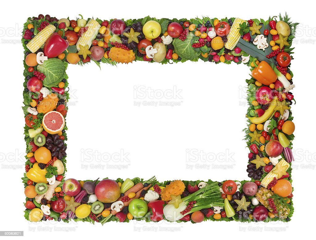 Variety of fruits and vegetables making up a frame royalty-free stock photo
