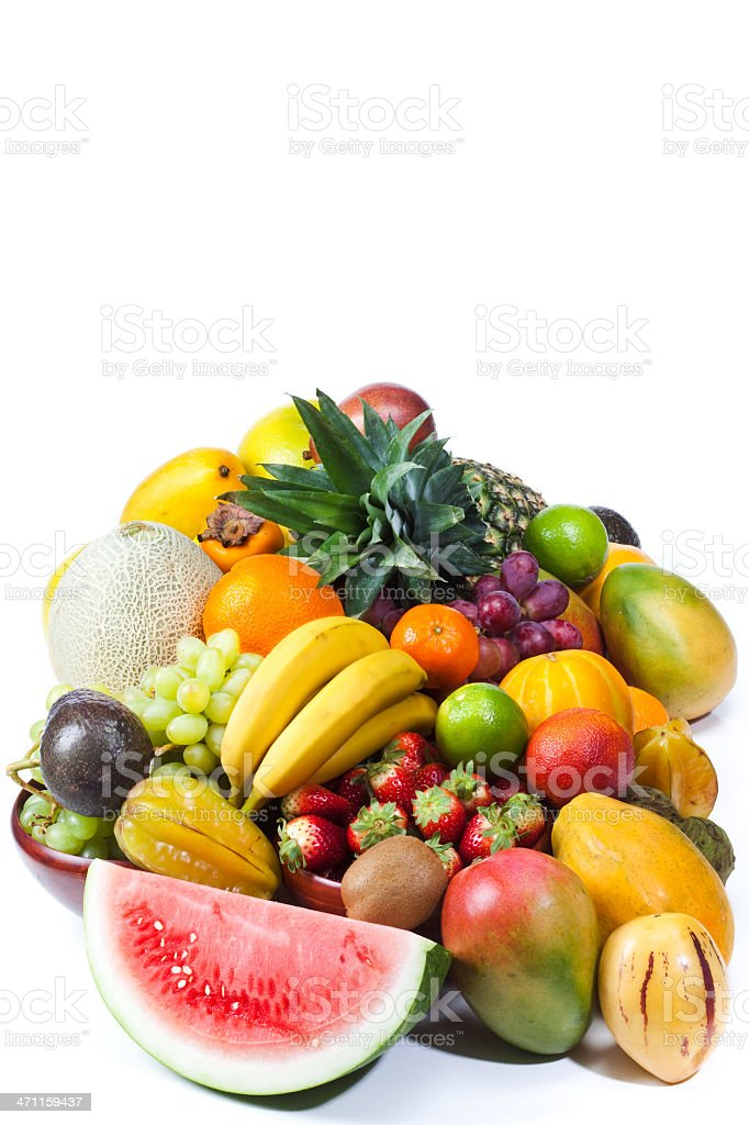 Variety of fruits on white background royalty-free stock photo