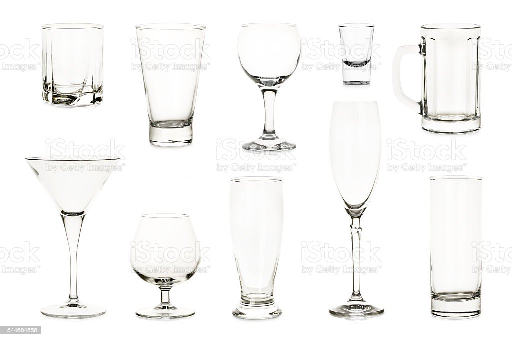 variety of glasses stock photo