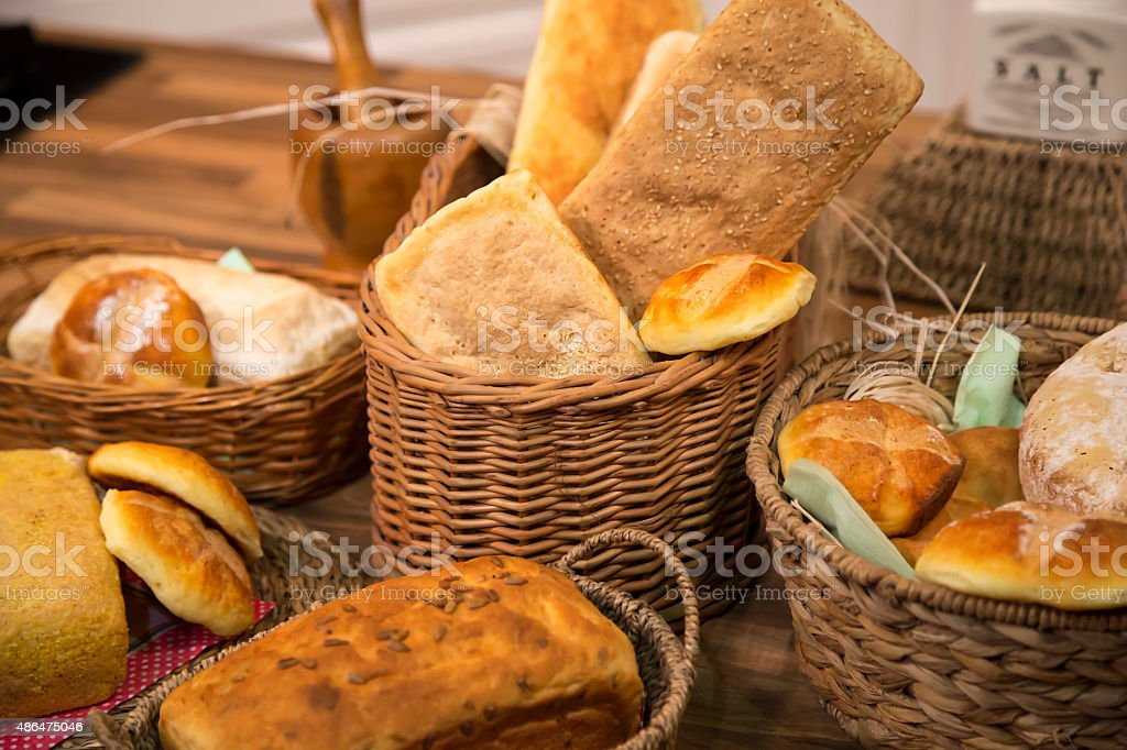 Variety of gluten free bread and pastry. stock photo
