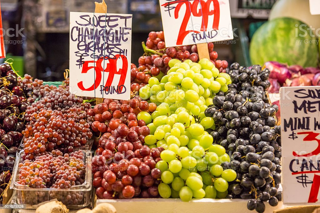 variety of grapes in Pike place market stock photo