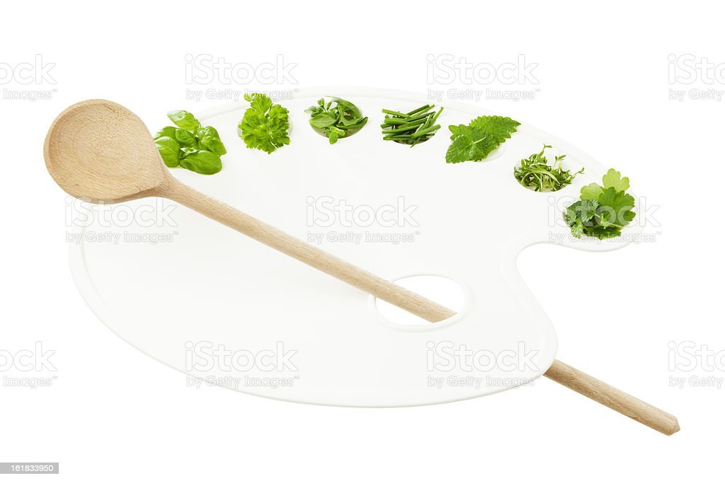 Variety of herbs on painters palette royalty-free stock photo