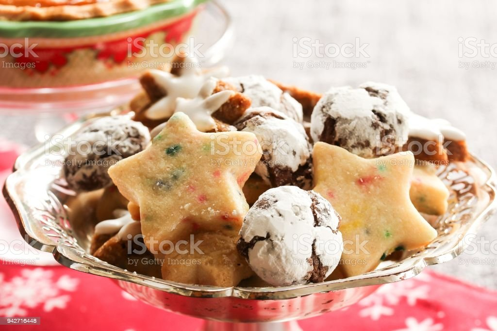 Variety Of Homemade Xmas Cookies Chocolate Crinklesshortbread On