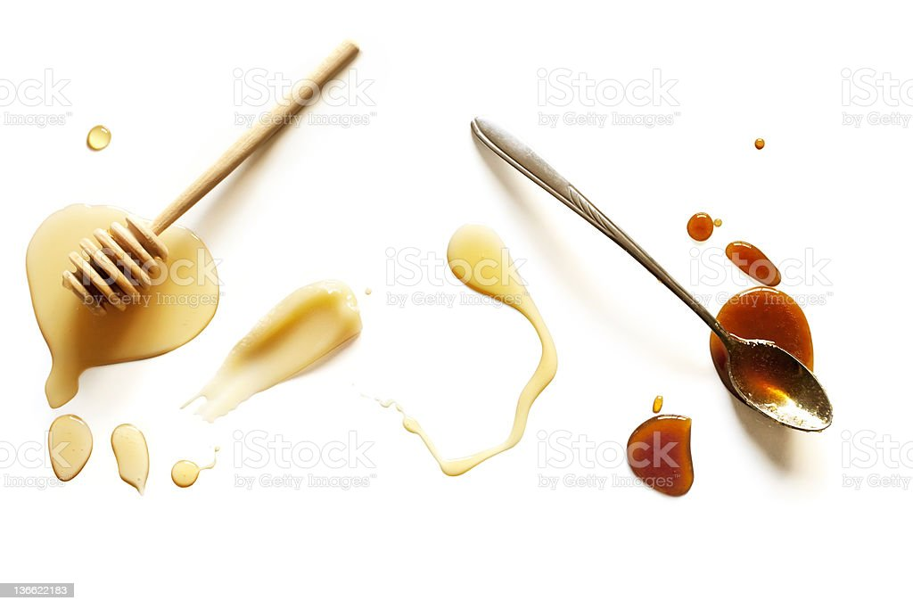 Variety of Honey Isolated on White stock photo